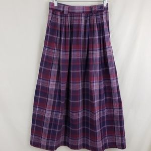 Orvis Vintage Purple Pink Plaid Midi Skirt sz 6
